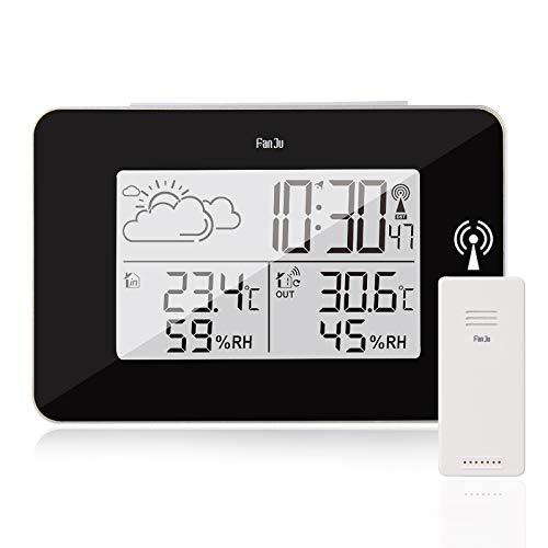 hausmelo Wetterstation Funk mit Außensensor Digitale LCD Thermomter Hygrometer für innen und außen, Wettervorhersage, DCF-Zeitfunkfunktion, Aktuelle Uhrzeit & Wecker, Hintergrundbeleuchtung (Schwarz)