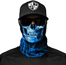 SA Company Face Shield Micro Fiber Protect from Wind, Dirt and Bugs. Worn as a Balaclava, Neck Gaiter & Head Band for Hunting, Fishing, Boating, Cycling, Paintball and Salt Lovers. - Blue Crow