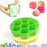 QIOUX 2 Packs Silicone Ice Cube Tray Round Honeycomb