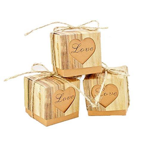 JZK 50 x LOVE corazón, boda rústica papel caja favor caja favores pequeña caja regalo para boda cumpleaños fiesta bienvenida bebé bautizo graduación fiesta navidad caja dulces