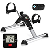 TABEKE Pedal Exerciser Under Desk Bike - Folding Pedal Exerciser for Arm/Leg Workout, Portable Desk Bike Peddler Exerciser with LCD Display