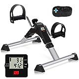 TABEKE Under Desk Bike Pedal Exerciser - Pedal Exerciser for Arm/Leg Workout, Portable Desk Bike Peddler Exerciser with LCD Display