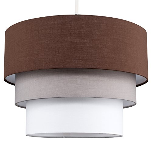MiniSun – Paralume bellissimo, moderno e rotondo con 3 livelli di colori vari (marrone, grigio e bianco) – per lampada a sospensione