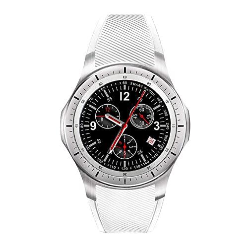 CNZZY Reloj inteligente 3G Smart Watch Teléfono WIFI GPS Android Bluetooth Smartwatch Hombres Mujeres Deportes Reloj de pulsera 8GB 512MB Monitor de frecuencia cardíaca, Negro (Blanco)