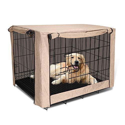 TUYU Funda para jaula de perro para cajas de alambre a prueba de viento y polvo para perreras de mascotas cubiertas de invierno caliente al aire libre P (48 pulgadas) rotección para perros grandes