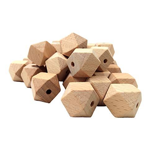 Arakierst 30pcs Faceted Beech Wood Geometric Hexagon Beads 16mm Unfinished Polygon Hexagonal Wooden Beads for DIY Crafts