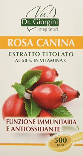 Dr. Giorgini Integratore Alimentare, Monocomponenti Erbe Rosa Canina Estratto Titolato al 50% in Vitamina C Polvere - 100 g