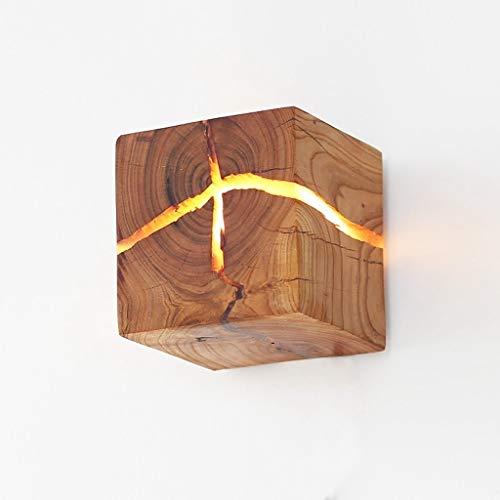 Log-Crack-Wandleuchte massivem Holz Nachttischlampe Innenbeleuchtung dekorative Nachtlicht Holz Wandleuchte, Kiefer Blätter Fallen Holz, Aprikose Holz (zufällige Risse)