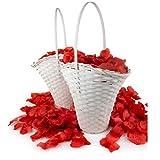 WeedingTree 2 cestas de Flores para bodacon petalos de Rosa en Color Rojo - 2000 pétalos de Rosa para Bodas, día de San Valentín, cumpleaños, y decoración de Fiestas (Rojo)