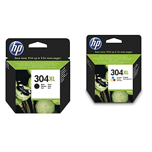 HP N9K08AE 304XL Cartucho de Tinta Original de Alto Rendimiento, 1 Unidad, Negro + 304XL N9K07AE, Tricolor, Cartucho de Tinta de Alta Capacidad Original