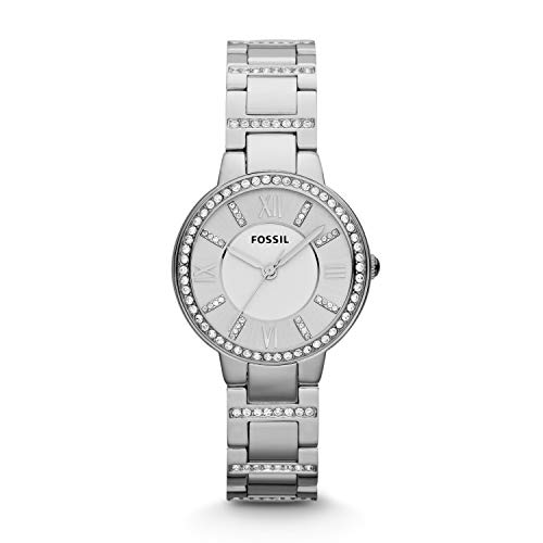 Fossil Women's Virginia Quartz Stainless Three-Hand Watch, Color: Silver (Model: ES3282)