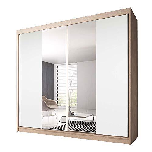 Idzczak Meble Schwebetürenschrank Claudia 13 233 mit Spiegel Kleiderschrank mit Kleiderstange und Einlegeboden Schlafzimmer- Wohnzimmerschrank Schiebetüren Modern Design (Sonoma/Weiß + Spiegel)