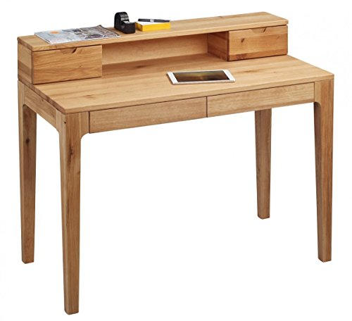 Dreams4Home Schreibtisch 'Burton' Holz Massiv Wildeiche Bürotisch Tisch Sekretär Schminktisch 110 x 96 cm
