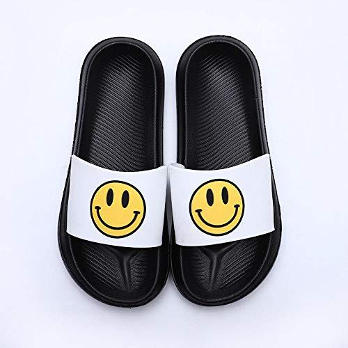 TDYSDYN Zapatillas de baño Unisex,Zapatillas de casa sonrientes, Lindas Chanclas para Parejas-Fondo Negro_35/36