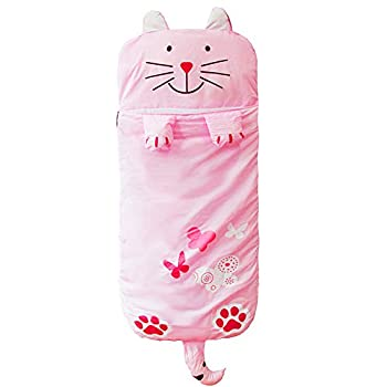 WINNUO Kids Sleeping Bag - Children Slumber Bags Nap Mat Soft Warm Girls Boys Cute Cat/Rabbit/Crocodile/Dinosaur Slumber Bag