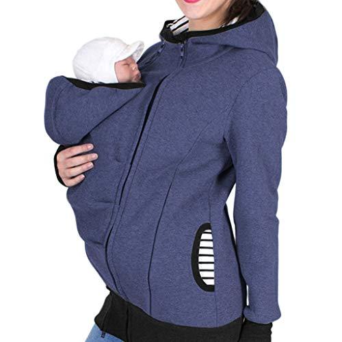 Lazzboy Frauen Mutterschaft Gestreiften Baby Tasche Träger Hoodie Crop Zipper Schwangerschaft Mantel Mama Kängurujacke Mit Kapuze Sweatshirt Babytrage/känguru (Blau,M)