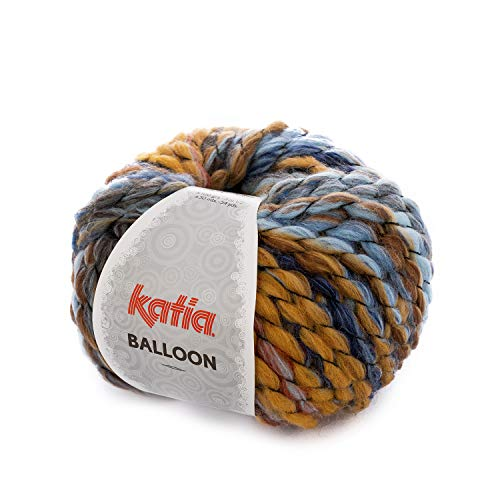 Katia Balloon FB. 56, 100 g de Laine épaisse avec dégradé de Couleurs pour Tricot et Crochet, Laine à Tricoter Rapide, Aiguilles 10-12 mm