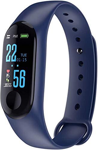 Pulsera inteligente inteligente para hombre y mujer, impermeable, Bluetooth, podómetro, multifunción, pulsera deportiva (color: azul)-azul