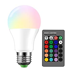 Droiee Dimmable E26 LED Light Bulb, RGB Bulb 6W with 16 Color Changing Modes for Christmas, Party etc with Remote Control