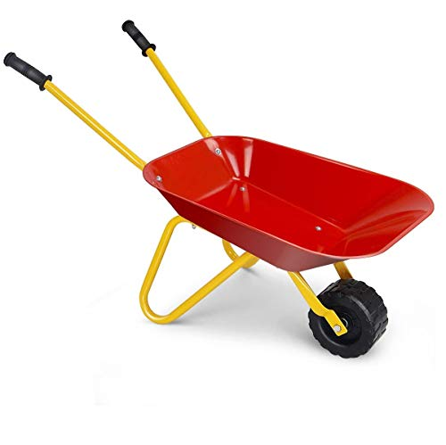 Costzon Kids Metal Wheelbarrow, Yard Rover Steel Tray, Metal Construction Toys Kart, Tote Dirt/Leaves/Tools in Garden for Toddlers, Red