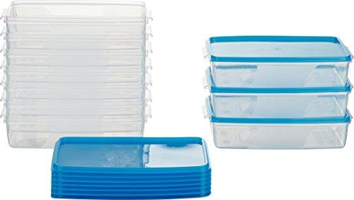 MiraHome Frischhaltedose Gefrierbehälter 1l rechteckig flach 21x14x5,5cm 10er Set blau Austrian Quality