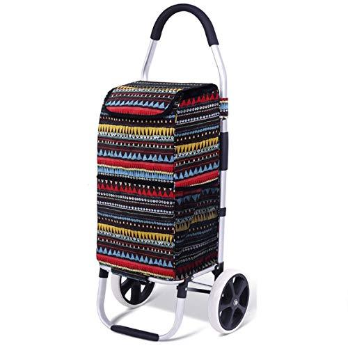 Z-SEAT Klappbarer Einkaufswagen, Leichter wasserdichter Einkaufswagen mit leisen Dreirädern mit Klettertreppe Faltbarer Einkaufswagen Handwagen