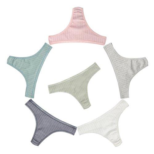 Knitlord 6er-Pack Damen Tanga, Unterwäsche aus Baumwolle, atmungsaktive Unterhosen, Damen String - Medium
