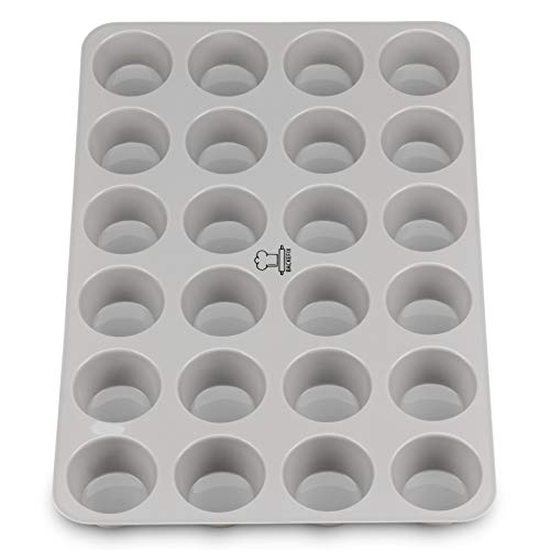 Backefix 24 mini-muffins en silicone étain - Faire cuire les moules à muffins sans cas de graisse et papier - respectueux de l'environnement Ø 4,5cm