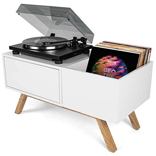 Glorious Turntable Lowboard - tavola rotante bassa di alta qualità in design retrò anni  60, spazio di archiviazione per un giradischi e molto spazio per i dischi, bianco