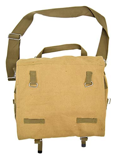 Vintage US Army Style Messenger Bag Canvas Satchel Side Shoulder Sack WW2 Khaki