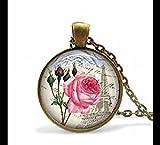 Collares de joyería con colgante de rosa de París, hermoso collar, colgante de foto, bronce, collar colgante, cristal
