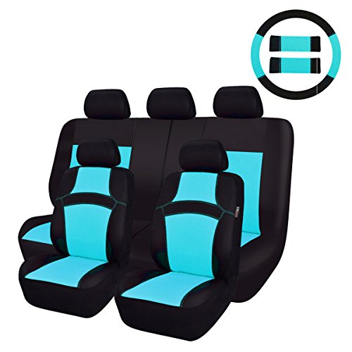CAR PASS Rainbow Universal Fit Car Seat Cover -100% Breathable with 5mm Composite Sponge Inside,Airbag Compatible (14PCS, Water Blue)