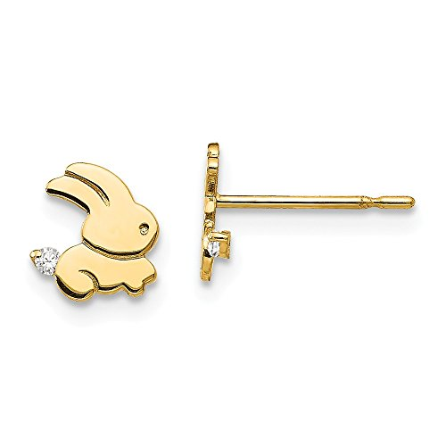 14k Yellow Gold Cubic Zirconia Cz Childrens Bunny Post Stud Earrings Holiday Animal Wild Fine Jewelry For Women Gifts For Her