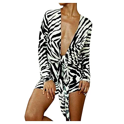 GFGHH Vestido de playa para mujer, bikini, ocultación, camisa impresa, blusa para playa, poncho, vestido de playa, sexy, cuello en V, suelto, talla grande, túnica, Negro , XL