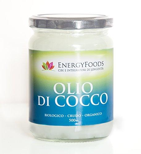 Olio di Cocco Biologico Extra Vergine 500 ml - Crudo, Spremuto a Freddo e non raffinato - Organico e Puro al 100%
