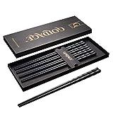 Goldage 5 pares de palillos de fibra de vidrio aptos para lavavajillas (Minimalismo Japonés -...