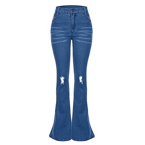 High Waist Jeans of Women 2019 Spring Pants Capris Fashion Stretch Slim Flare Jeans,Blue,XL,C