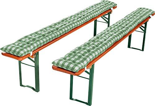 REDBEST Bierbank-Auflage, Sitzauflage Bierzeltgarnitur gepolstert 2er- Pack karo grün Größe 22x215 cm - strapazierstark und langlebig, bequemer Sitzkomfort, mit elastischen Bändern