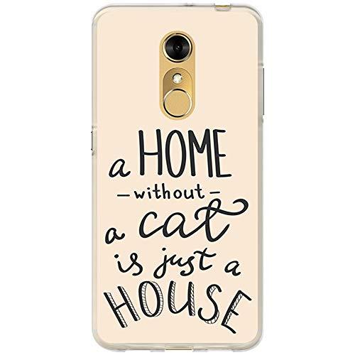 BJJ SHOP Transparent Hülle für [ ZTE Blade A910 ], Flexible Silikonhülle, Design: Motivierende Phrase, Liebhaber von Katzen, a Home Without a cat is just a House