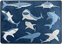 青い漫画のサメのプリントエリアの敷物、リビングダイニングルームの寝室のキッチン用の敷物、5'X7'保育園の敷物の床のカーペットヨガマット