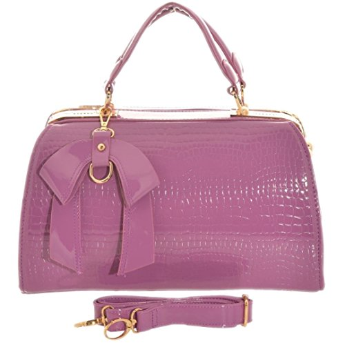 Girly Handbags Lack Doktor Handtasche Schultertasche Gold Frame Büro Frauen Metallrahmen