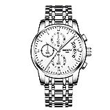 NIBOSI Watches Men Waterproof Chronograph Stainless Steel Analog Quartz Watch Men Fashion Dress Business Wristwatch