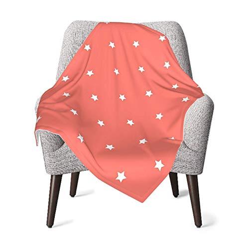 Hdadwy Manta doble para bebé Edredón para bebé Decoración de coral Minimalista Estrella ordenada en elementos del espacio exterior vacíos Saludo temático DesIgn Image Manta de bebé blanca roja, Manta