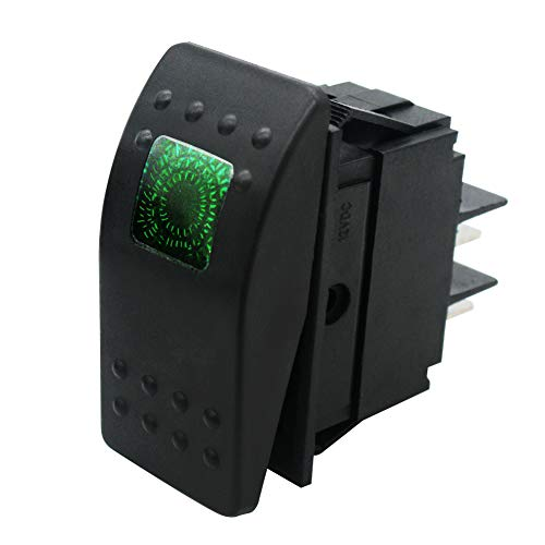 mxuteuk RK1-06-G - Interruptor basculante (12 V, 20 A, impermeable, luz LED, luz verde, encendido y apagado)