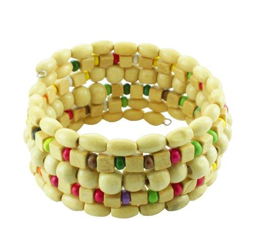 Chic-Net Holzarmreif Natur bunt Armreif Holzarmband Armband Holz Spirale auf Draht Damen Holzperlen