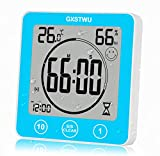 GXSTWU Digital Timer Shower Clock Waterproof with Alarm, Bathroom Kitchen Wall Clock, Touch Screen Timer [Count up and Down], Thermometer Hygrometer Suction Cup Hanging Hole Stand Magnet (1pack)