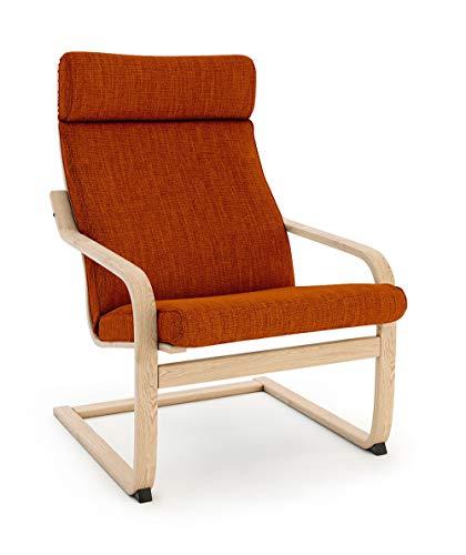 Vinylla Sessel Ersatzbezug Kompatibel mit IKEA Poäng (Cushion Design 3, Polyester - Orange)
