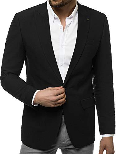OZONEE Herren Sakko Jackett Anzugjacke Blazer Anzug Jacke Smoking Slim Fit Business Sportlich Sport Langarm Casual Klassisch Classic Modern H/878 SCHWARZ S
