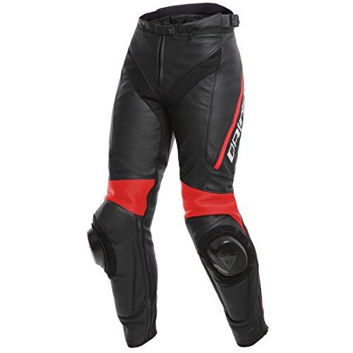 Dainese Motorradhose Delta 3 Damen Lederhose schwarz/schwarz/neonrot 42 (S), Sportler, Ganzjährig