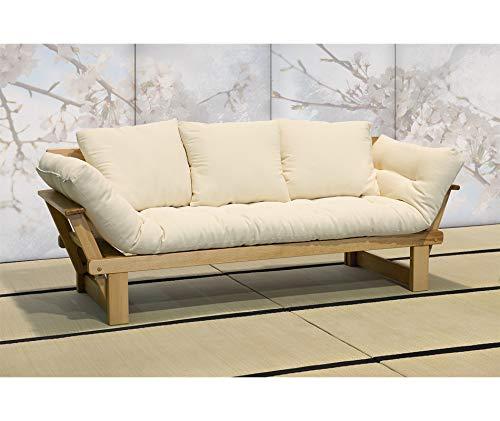 Vivere Zen - Divano Letto in Legno Artigianale con futon - Sesamo 3 posti - con futon Cotone polylatex 11 cm + 3 Cuscini